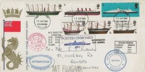1969 British Ships, GPO FDC, Hounslow FDI, with 15 Ship Cachets, well travelled, rare cover.