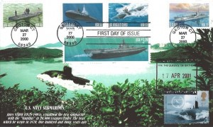 2001 Submarines Self Adhesive 1st Class, Peter Payne FDC, HM Queen's 75th Birthday H/S, doubled with 27th March 2000 US Issue of Submarine Stamps, Groton CT postmark.