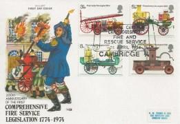 1974 Fire Service, Philart FDC, Cambridgeshire Fire & Rescue Service H/S.