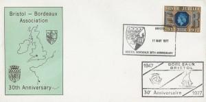 1977 Silver Jubilee, Bristol Bordeaux Association Official FDC, Bristol Bordeaux 30th Anniversary H/S.