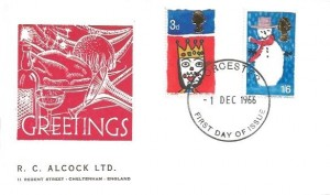 1966 Christmas, R C Alcock Ltd FDC, Worcester FDI.