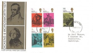 1970 Literary Anniversaries, Post Office FDC, Cambridge FDI, William Wordsworth educated at Cambridge.