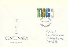 1968 British Anniversaries, TUC Centenary FDC, 4d TUC Stamp, London SE1 FDI.