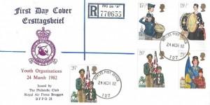 1982 Youth Organisations Registered RAF Bruggen FDC, FPO 127 cds