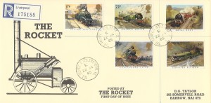 1985 Famous Trains, Registered D G Taylor Rocket FDC, The Rocket T.S.O. Liverpool 13 cds.
