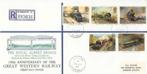1985 Famous Trains, Registered D G Taylor Royal Albert Bridge FDC, Saltash Cornwall cds.