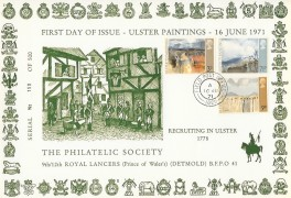 1971 9th/12th Royal Lancers Philatelic Society Card, Field Post Office 1029 cds.