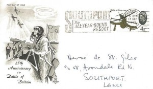 1965 Battle of Britain, Stuart FDC, Southport The All Year Round Resort Slogan.