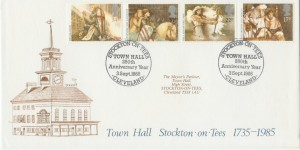 1985 Arthurian Legend, Stockton-on-Tees Town Council Official FDC, Stockton-on-Tees Town Hall 250th Anniversary Year Cleveland H/S
