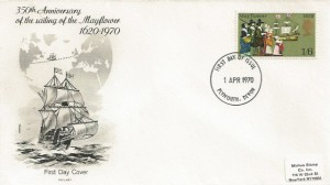 1970 General Anniversaries, Philart FDC, 1/6d Mayflower stamp only, Plymouth Devon FDI.
