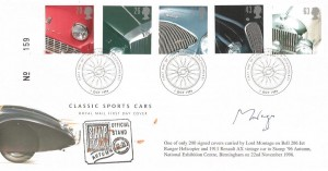 1996 Classic Cars, Royal Mail Stampex 96 Overprinted FDC, First Day of Issue Beaulieu Brockenhurst. Signed by Lord Montagu.