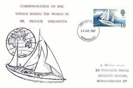 1967 Sir Francis Chichester, Holmes Tolley FDC,  Birmingham FDI.