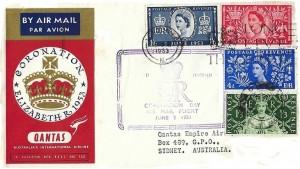 1953 Coronation, Qantas Airlines FDC, Long Live the Queen London FS Slogan + London cds.
