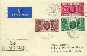 1935, King George V Silver Jubilee Booklet Stamps, ½d, 1d, 1½d, Plain Hillman Airways FDC, London FS Airmail Cancel + cds's.