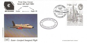 1980, London 1980 International Stamp Exhibition, 50p Stamp, Havering Air  Ecosse FDC, Flown on Inaugural Flight Exeter to Liverpool.