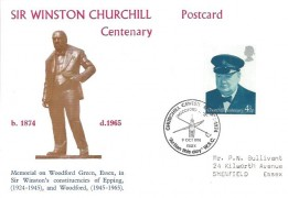 1974, Winston Churchill, Centenary Postcard, Woodford Green Action this day W.S.C. H/S.