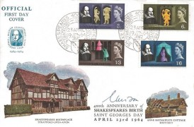 1964, Shakespeare Festival, Official Illustrated Shakespeare's Birthplace FDC, Shakespeares 400th Anniversary Stratford Upon Avon H/S, Signed