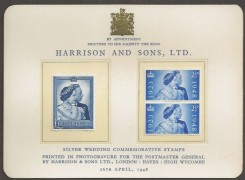 1948, KGVI Silver Wedding, Harrison & Sons Presentation Card