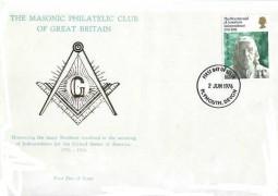 1976 USA Bicentenary Masonic Philatelic Club of Great Britain FDC, Plymouth FDI