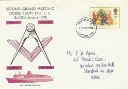 1978 Christmas 2nd Grand Masonic Cruise from the UK FDC, London SW FDI