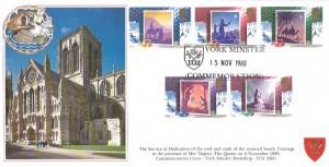 1988 Christmas, Covercraft York Minster Official FDC, York Minster Commemoration H/S