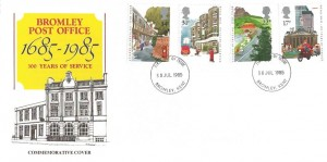 1985 The Royal Mail, Bromley Post Office, 300 Years of Service Special FDC, Bromley FDI.