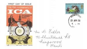 1970 General Anniversaries, Gemini 75th Anniversary of the International Co-operative Alliance FDC, Ringwood Hants. cds