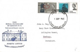 1965 Joseph Lister, The Royal Infirmary Of Edinburgh FDC, Edinburgh FDI