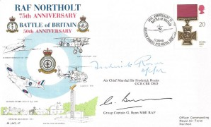 1990 Gallantry, 75th Anniversary RAF Northolt  JS (AC) 47 FDC, Single 20p Stamp only, 50th Anniversary of the Battle of Britain British Forces 2232 Postal Service H/S, Signed