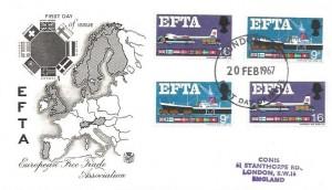 1967, European Free Trade Area (EFTA), Stuart FDC, Phosphor & Ordinary stamps on the same cover, London WC FDI
