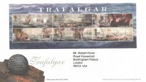 2005, Trafalgar Miniature Sheet, Royal Mail FDC, Buckingham Palace SW1A 1AA cds