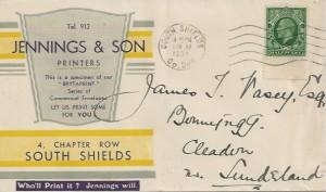 1934 King George KGV, ½d Green Photogravure, Jennings & Son Printers FDC, South Shields Co. Durham cds