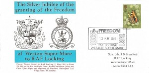 1981 Butterflies RAF Locking Official FDC, 14p Stamp only, 25 years Freedom 1956-1981 RAF Locking Weston super Mare H/S