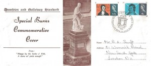 1966 Robert Burns, Dumfries and Galloway Standard FDC, The friend of man to vice alone a foe Dumfries H/S