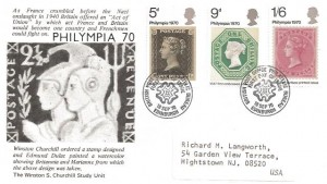 1970 Philympia, The Winston S. Churchill Study Unit FDC, British Post Office Philatelic Bureau Edinburgh H/S