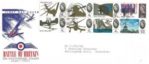 1965 The Battle of Britain, Illustrated FDC, Phosphor Set, Wellington Road South Hounslow Middx. cds