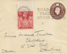 1939, King George VI, 5s Red High Value Arms, 1½d KGVI Stationery Envelope, Road Users Take Care Avoid Risks Brighton & Hove Slogan