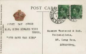1936 King Edward VIII ½d Green x2, H.M King Edward VIII on Horseback Postcard, Horsforth Leeds cds