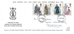 1975 Jane Austen, Queen Elizabeth's School and Community College Crediton FDC, Exeter District FDI