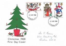 1968 Christmas, Illustrated Christmas Tree FDC, London EC FDI