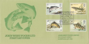 1983 British River Fish on Special John West Foods Ltd FDC, 100 Years of Salmon Fishing Salmon Leap Coleraine Co. Londonderry H/S