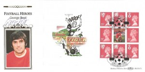 1996 Football Heroes, £2 Pane from Prestige Booklet, Benham BLCS117c  FDC, British Football Heroes Manchester H/S, Signed by George Best