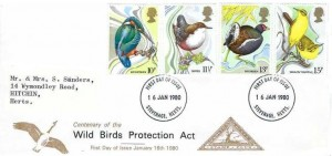1980 British Birds, North Herts. Stamp Club FDC, Stevenage Herts.FDI