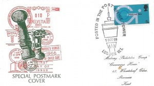 1969 Post Office Technology, Philart Special Postmark FDC, 5d stamp only, Posted in the Post Office Tower London W1 H/S