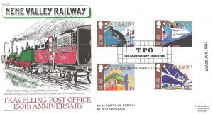 1988 Transport & Communications Nene Valley Railway Official FDC, TPO 150th Anniversary 1838 - 1988 Peterborough H/S