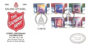 1988 Christmas, Ealing Citadel Salvation Army FDC, Philatelic Counter London Chief Office EC1 H/S