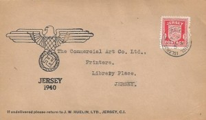1941 1d Jersey Arms, Illustrated  Eagle & Swastika FDC, Jersey Channel Islands cds