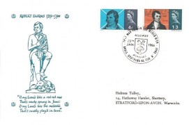 1966 Robert Burns, Holmes Tolley FDC,That Man to Man the Warld O'er Shall Brothers be for A' That Alloway Ayrshire H/S