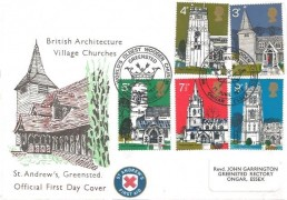 1972 Village Churches, St.Andrew's Official FDC, World's Oldest Church Greensted H/S