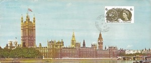 1965 700th Anniversary of Parliament, Houses of Parliament Colour Maximum card , 6d Ordinary stamp used on the front, George St. Berkhamstead Herts. cds